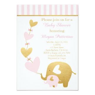 Elefant-Babyparty-Einladung im Rosa und im Gold Karte