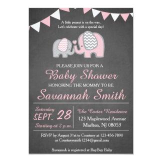 Elefant-Babyparty-Einladungen für ein Mädchen Karte