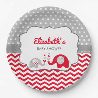 Elefant-Babyparty-Platte, EDITABLE FARBE Pappteller