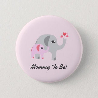 Elefant-Babyparty-Rosa Runder Button 5,7 Cm