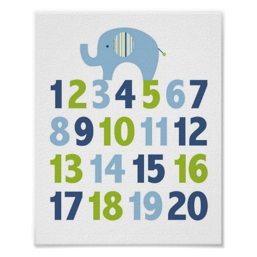 elefant blaues gr n zahl kinderzimmer wand druck poster zazzle. Black Bedroom Furniture Sets. Home Design Ideas
