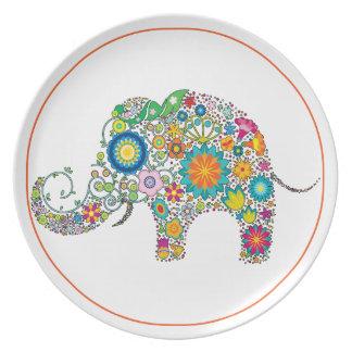Elefant-Blumenkunst Teller