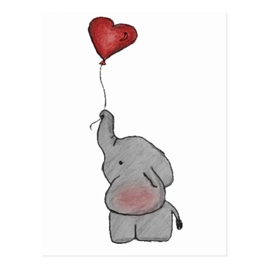 elefant der ballon hält postkarte  zazzlede