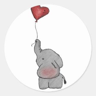 Elefant, der Ballon hält Runder Aufkleber