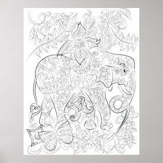 Elefant, der erwachsenes Farbtonplakat zeichnet Poster