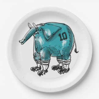 Elefant der Fußballspieler Pappteller