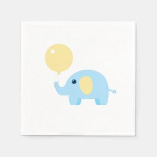 Elefant des blauen Babys mit Ballon Papierserviette