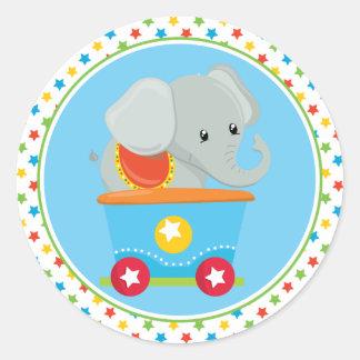 Elefant des Zirkus-Zug-  Runder Aufkleber