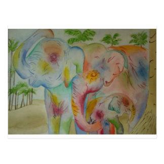 Elefant-Familie Postkarte