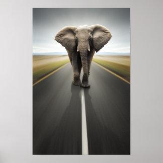 Elefant-Fernlastfahrer-Plakat Poster