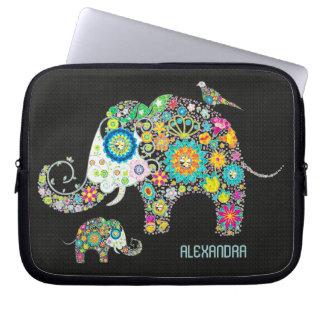 Elefant-Form-bunte Retro Blumen Computer Sleeve Schutzhülle