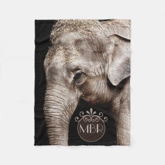 Elefant-Foto-Bild-Monogramm Fleecedecke
