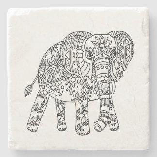 Elefant-Gekritzel-Untersetzer Steinuntersetzer