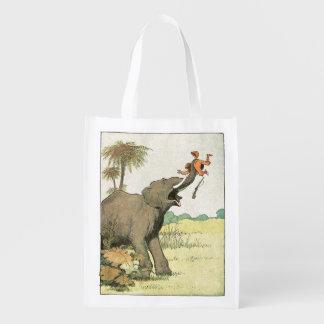 Elefant-Geschichten-Buch-Zeichnen Wiederverwendbare Einkaufstasche