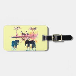 Elefant, Giraffen-Safari-Sonnenuntergang-Kunst Gepäckanhänger