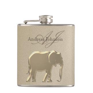 Elefant-goldenes elegantes Sandstein-Monogramm Flachmann