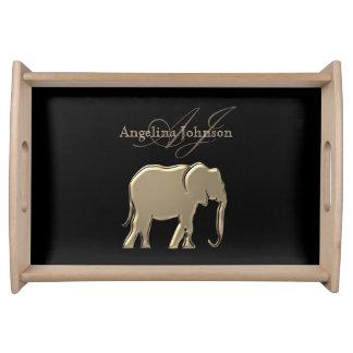 Elefant-goldenes schwarzes Monogramm-elegantes Serviertablett