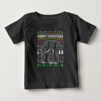 Elefant-hässliche Weihnachtsstrickjacke-Tier-Reihe Baby T-shirt