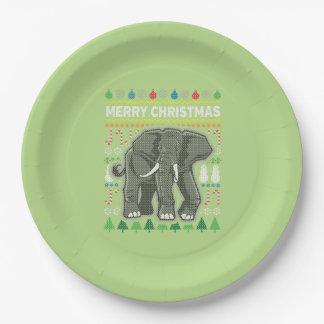 Elefant-hässliche Weihnachtsstrickjacke-Tier-Reihe Pappteller