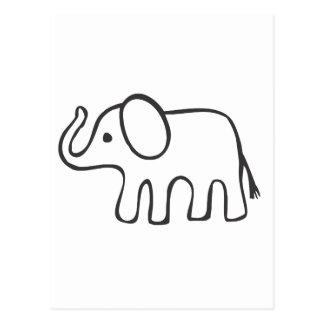 Elefant in der Schwarzweiss-Skizze Postkarte