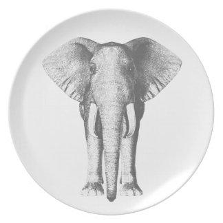 Elefant in Schwarzweiss Melaminteller