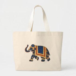 Elefant-Indien-Art weißes Gold des blauen Graus Jumbo Stoffbeutel