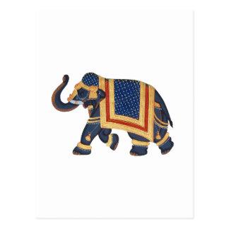 Elefant-Indien-Art weißes Gold des blauen Graus Postkarte