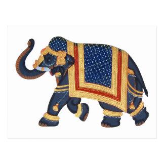 Elefant-Indien-Art weißes Gold des blauen Graus Postkarten