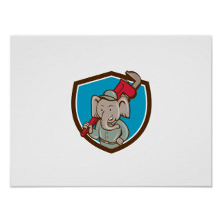Elefant-Klempner-Affe-Schlüssel-Wappen-Cartoon Poster
