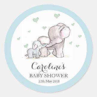 Elefant-Liebe-blaues Baby-Duschen-Aufkleber  Runder Aufkleber