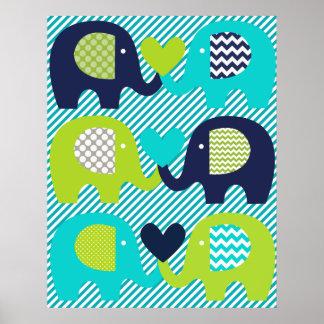 Elefant-Liebe-Kinderzimmer-Plakat Poster