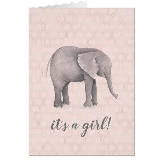 Elefant-Mädchen mit rosa geometrischem Hintergrund Karte