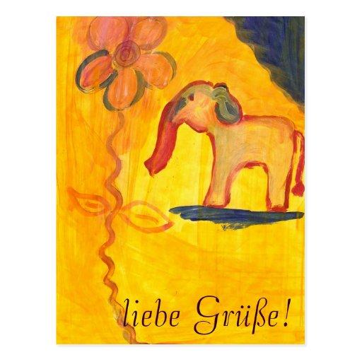elefant mit blume von Lola Mono Postkarte