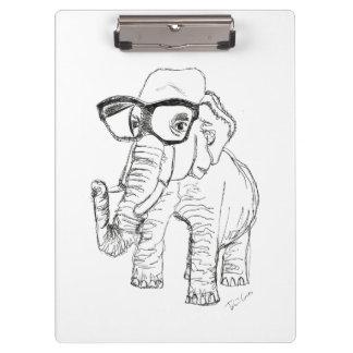 Elefant mit Glas-Klemmbrett