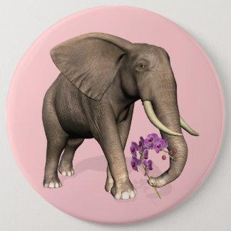 Elefant mit rosa Orchidee Runder Button 15,3 Cm