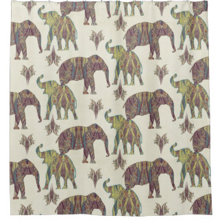 Elefant-Paisley-Muster Stammes- Boho Böhme-Kunst Duschvorhang