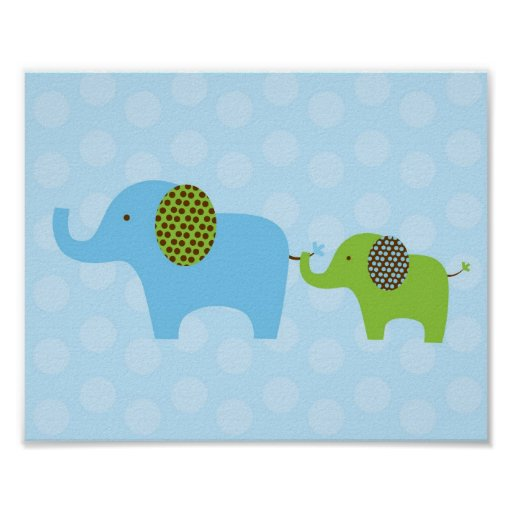 elefant parade blaues gr n kinderzimmer wand druck poster zazzle. Black Bedroom Furniture Sets. Home Design Ideas