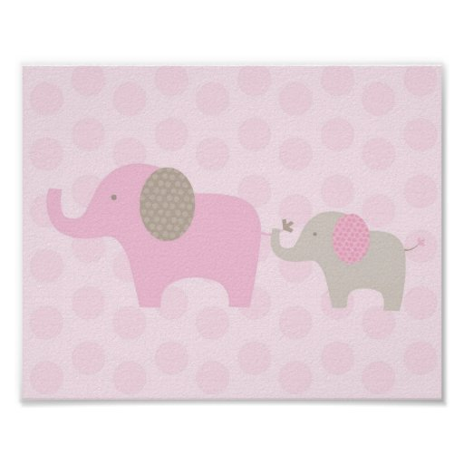 elefant parade rosataupe kinderzimmer wand druck poster zazzle. Black Bedroom Furniture Sets. Home Design Ideas