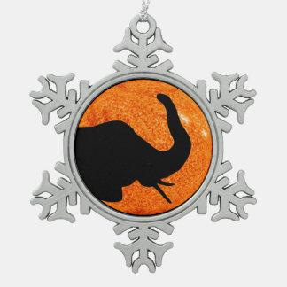 Elefant-Profil-Sonnenfinsternis-Schatten Schneeflocken Zinn-Ornament