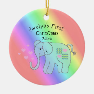 Elefant-Regenbogen färbt das erste Weihnachten des Keramik Ornament