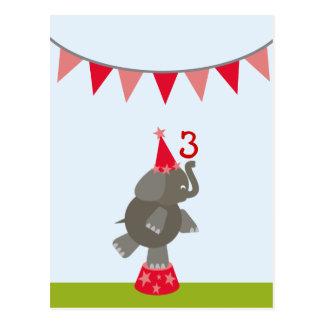 Elefant + Roter Zirkus kennzeichnet Postkarte