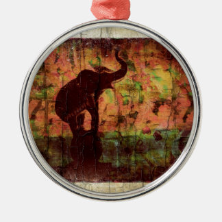 Elefant Rundes Silberfarbenes Ornament