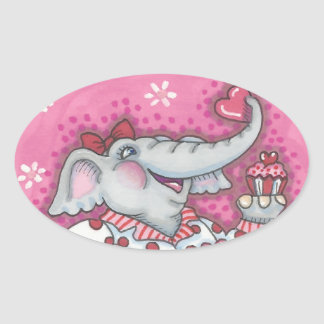 Elefant-Schatz VALENTINSGRUSS-AUFKLEBER oval Ovaler Aufkleber