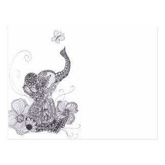 Elefant-Schmetterling Postkarte