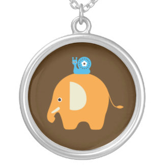 Elefant-Schnecke-Cartoon scherzt hängende Versilberte Kette