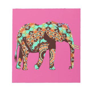 Elefant Stammes- und Pop-Fusionwatercolor-Grafik Notizblock