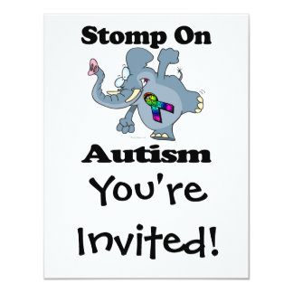 Elefant stampfen auf Autismus-Bewusstseins-Entwurf 10,8 X 14 Cm Einladungskarte