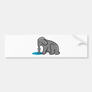Elefant-Trinken (Grau) Autoaufkleber