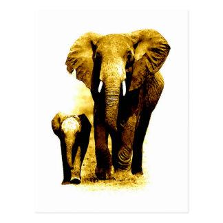 Elefant u. Baby-Elefant Postkarte
