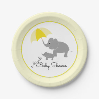 Elefant u. Baby, Regenschirm-Babyparty Pappteller